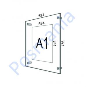 Акриловая рамка настенная на дистанционных держателях